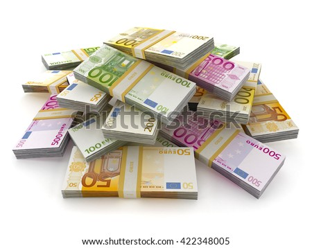 Euro money lots forming a pile isolated on white background. 3D illustration. - stock photo