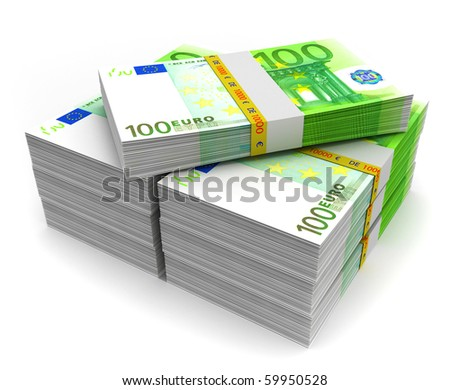 Euro money on white - stock photo