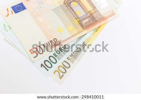 euro money on white background - stock photo