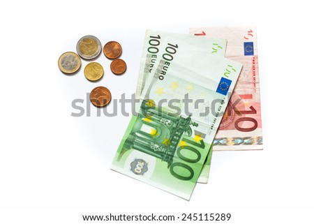 Euro money paper and coins isolated on white background