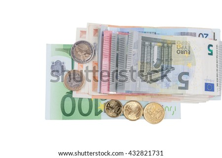 Euro money stacks and banknotes on white background, have clipping path. - stock photo