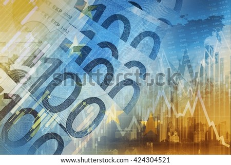 Euro Money Trading Concept Graphic. European Union Currency Forex Trader. - stock photo