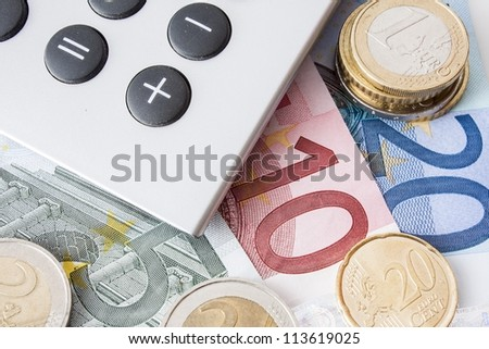 Euro money with calculator