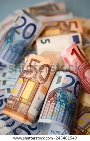 Euro money, with rich colors and lighting. Great for finance, business and economy themes.