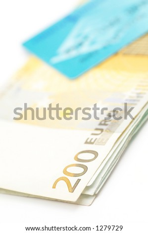 euro moneys and credit card in the dof - stock photo