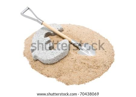 Euro monolith with shovel - stock photo