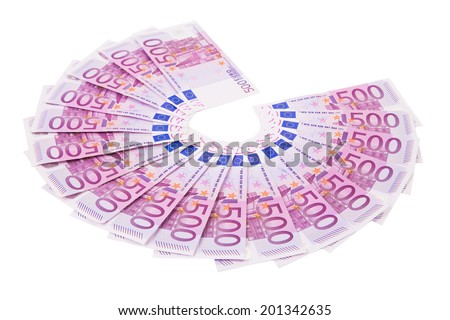 Euro notes aligned in a fan. Isolated on a white background. - stock photo