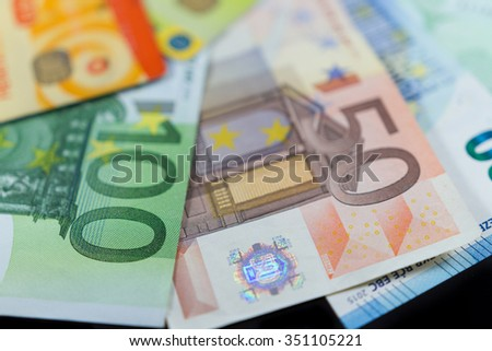 Euro notes and credit bank cards. Business and finance concept