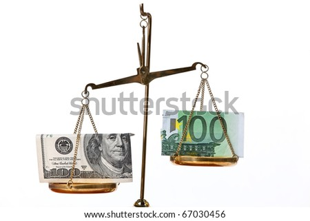 Euro notes and dollar on scales