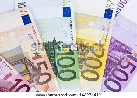 euro notes displayed closeup - stock photo