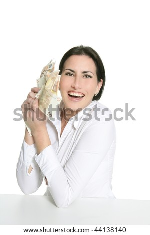 Euro notes in happy brunette woman hands isolated on white - stock photo