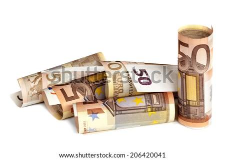 Euro notes isolated on white. - stock photo