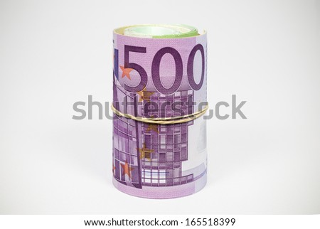 Euro Notes Roll Photo - stock photo