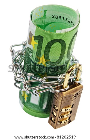 Euro notes with lock and chain on white background - stock photo