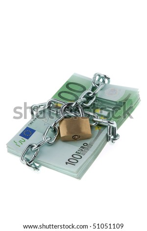 Euro notes with lock and chain. Stacks of money for safety and investment.