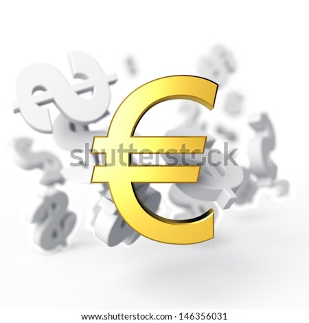 Euro on a background the flying away signs of dollar. 3d render - stock photo