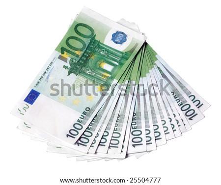 Euro one hundred bill background on isolated white - stock photo