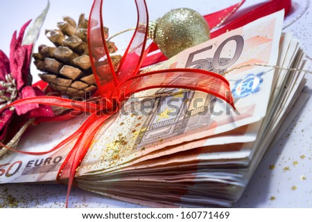 euro package for gift christmas - closeup  - stock photo
