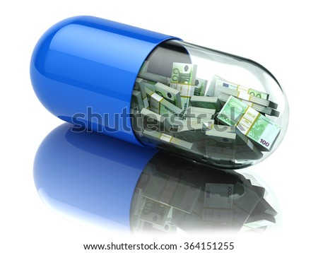 Euro packs in the capsule, pill. Healthcare costs or financial aid concept. 3d - stock photo