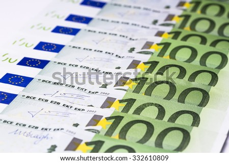 Euro paper money: closeup of banknotes, hundred, finances, investment, business, background, texture. - stock photo