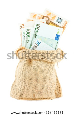 Euro paper money in the linen bag isolated on white background - stock photo