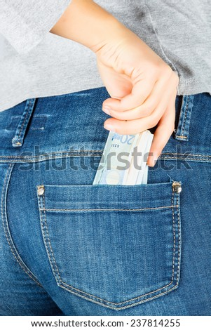 Euro. Paper money in the pocket of jeans. Isolated on white background. - stock photo