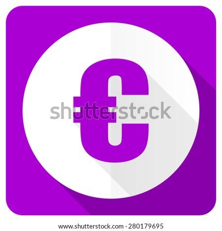 euro pink flat icon   - stock photo