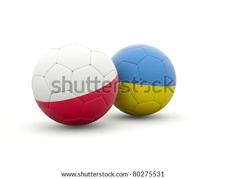 Euro 2012. Poland and ukraine footballs isolated on white - stock photo