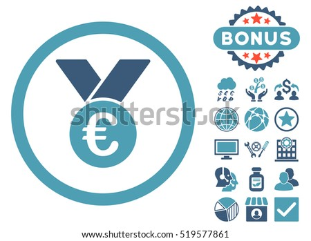 Euro Prize Medal icon with bonus design elements. Glyph illustration style is flat iconic bicolor symbols, cyan and blue colors, white background.