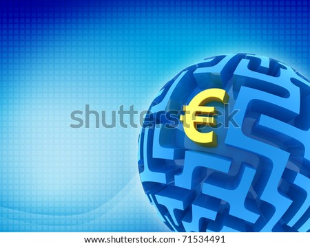 Euro puzzle. Business abstract background - stock photo