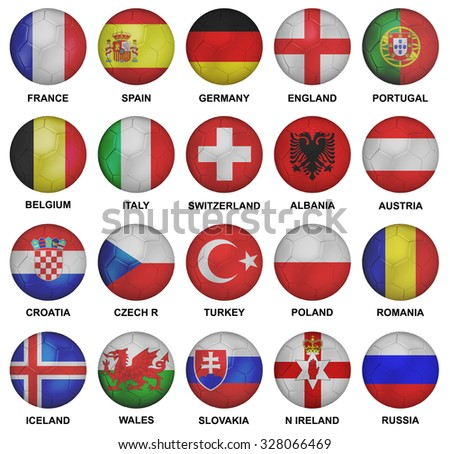 euro 2016 qualified soccer teams - stock photo