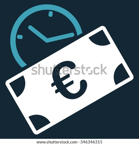 Euro Recurring Payment glyph icon. Style is bicolor flat symbol, blue and white colors, rounded angles, dark blue background. - stock photo