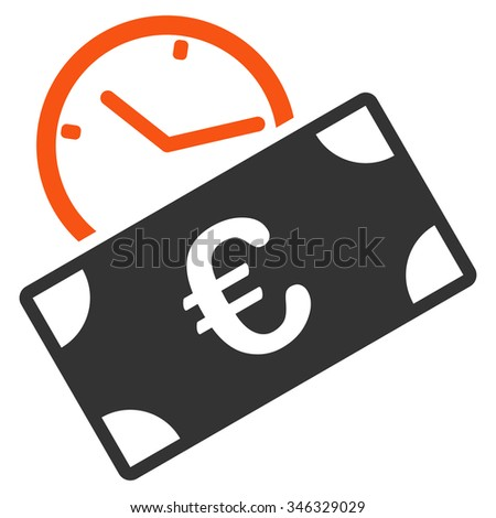 Euro Recurring Payment glyph icon. Style is bicolor flat symbol, orange and gray colors, rounded angles, white background. - stock photo