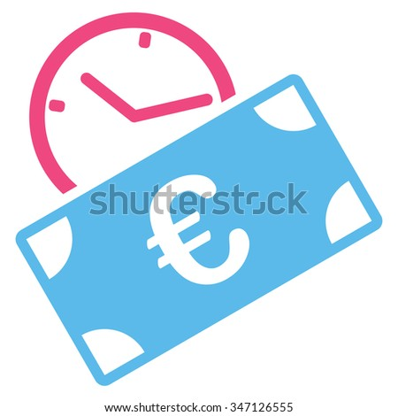 Euro Recurring Payment glyph icon. Style is bicolor flat symbol, pink and blue colors, rounded angles, white background. - stock photo