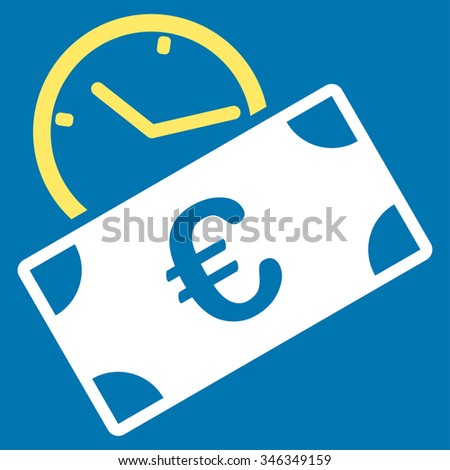 Euro Recurring Payment glyph icon. Style is bicolor flat symbol, yellow and white colors, rounded angles, blue background. - stock photo
