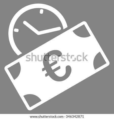 Euro Recurring Payment glyph icon. Style is flat symbol, white color, rounded angles, gray background. - stock photo