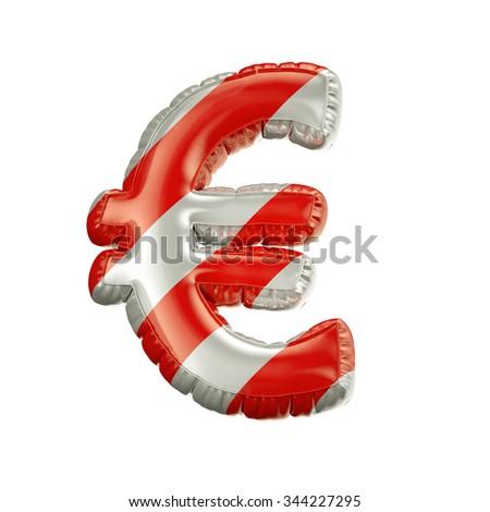 Euro. Red and white Balloon font isolated on White Background.Birthday alphabet. - stock photo