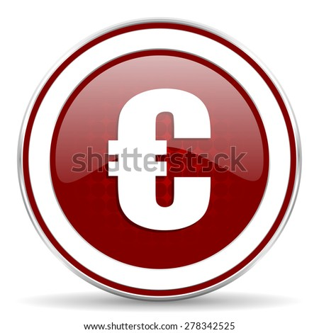 euro red glossy web icon - stock photo