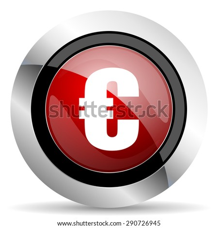 euro red glossy web icon original modern design for web and mobile app on white background  - stock photo