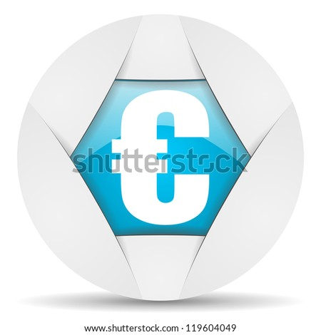 euro round blue web icon on white background