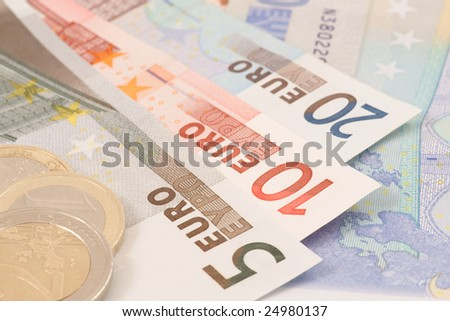 Euro's banknotes and coins. Business background.