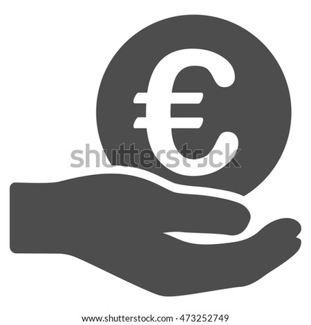 Euro Salary icon. Glyph style is flat iconic symbol, gray color, white background.