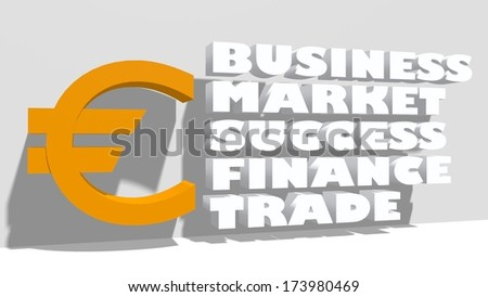 euro sign and business tags - stock photo