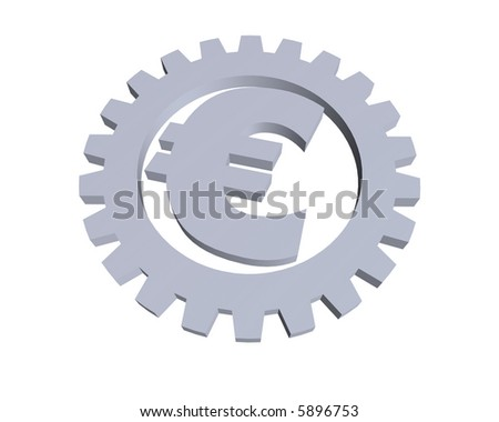 euro sign and gear wheel -3d illustration - stock photo
