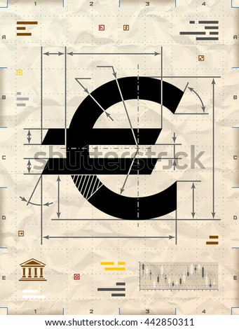 Euro sign as technical blueprint drawing. Drafting of money symbol on crumpled kraft paper. Qualitative illustration for banking, financial industry, economy, accounting, etc - stock photo