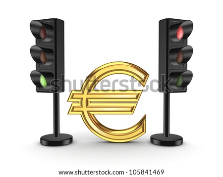 Euro sign between traffic lights.Isolated on white background.3d rendered. - stock photo