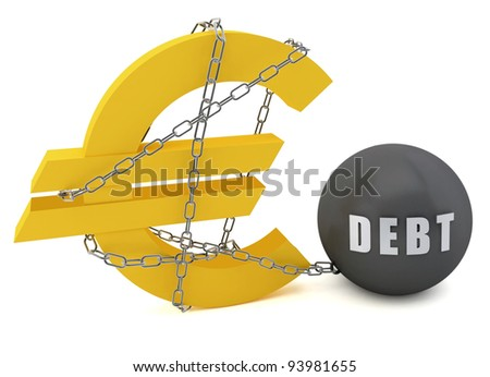 Euro sign connected in a chain of debt on a white  background - stock photo