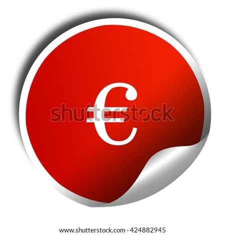 euro sign, 3D rendering, red sticker with white text - stock photo
