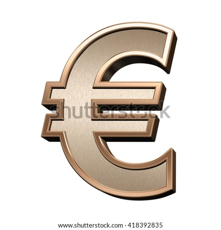 Euro sign from brushed copper with shiny frame alphabet set, isolated on white. 3D illustration.
