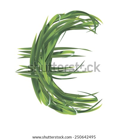 Euro sign from grass. Illustration